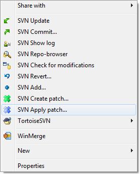 TortoiseSVN Apply Patch Context Menu Screen