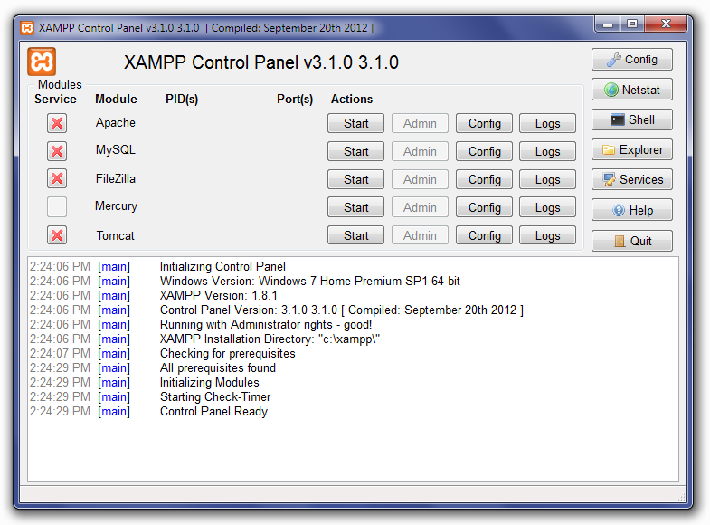XAMPP Control Panel Screen