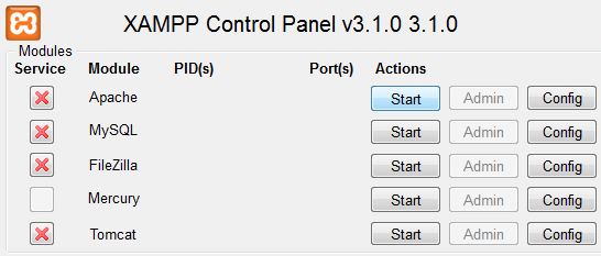 Start XAMPP Modules Manually Screen