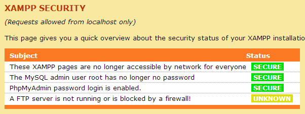 XAMPP Security Status Screen