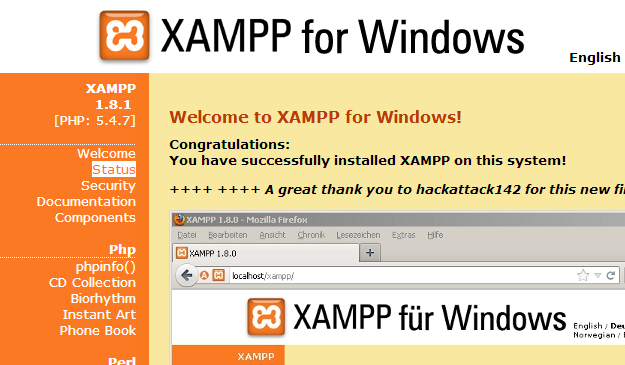 XAMPP Web Panel Welcome Screen