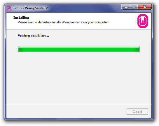 Installing WampServer: Finishing Installation Screen