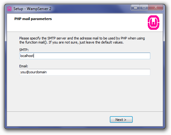 Installing WampServer: PHP Mail Parameters Screen