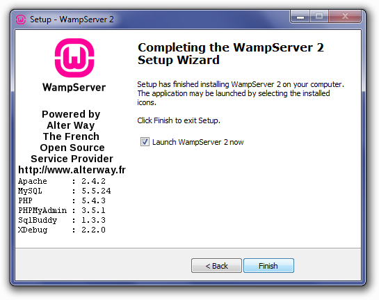 Installing WampServer: Completing The WampServer Setup Wizard Screen