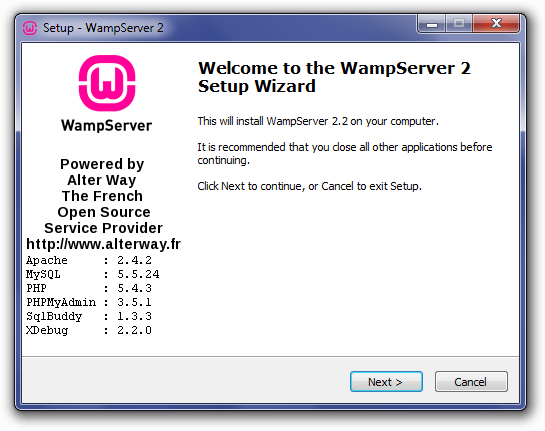 Welcome To The WampServer Setup Wizard Screen