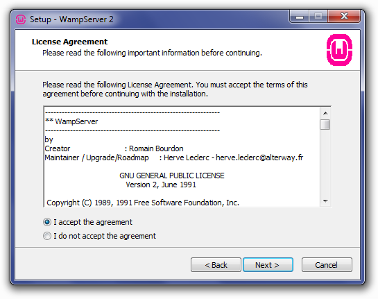 Installing WampServer: License Agreement Screen