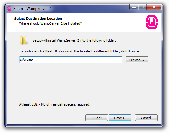 Installing WampServer: Choose Install Location Screen