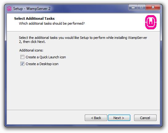 Installing WampServer: Select Additional Tasks Screen