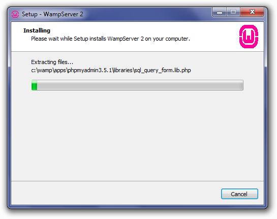 Installing WampServer: Unpacking Files Screen