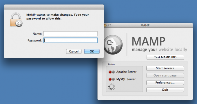 MAMP Change Authentication Screen