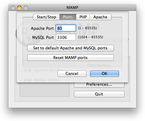 MAMP Change Default Ports Screen