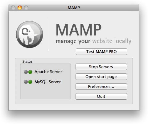 MAMP Control Panel Screen