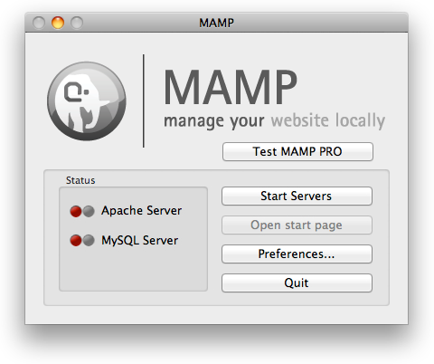 MAMP Shutdown Screen