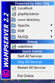 WampServer: Stop All Services Screen