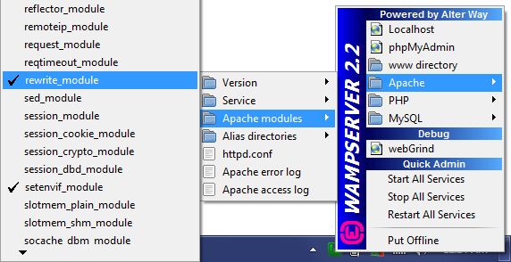 Enable rewrite_module Apache Module Screen