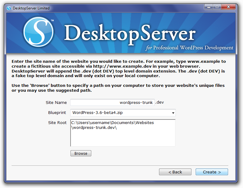 DesktopServer Create A New Development Website With 3.6 Beta4 Selected Screen