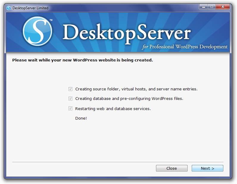 DesktopServer Create Local Site Process Screen