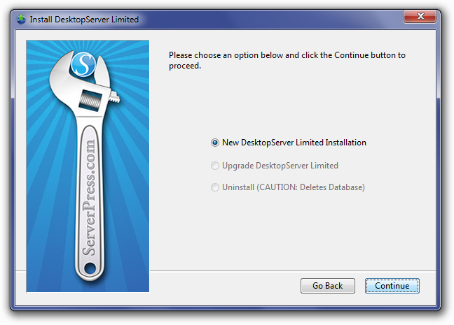 DesktopServer Choose New Installation Screen