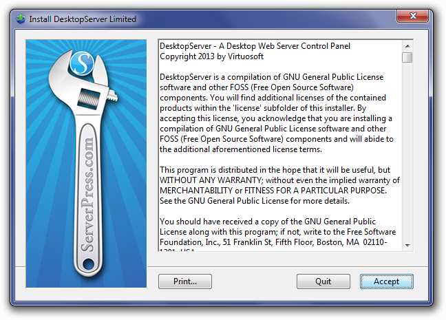 DesktopServer License Agreement Screen