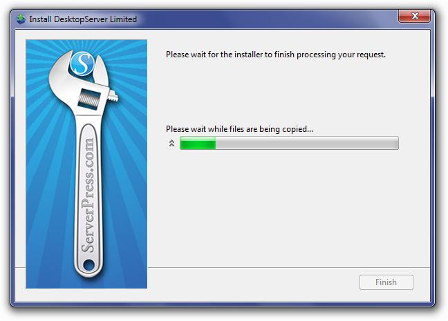 DesktopServer Unpacking Files Screen