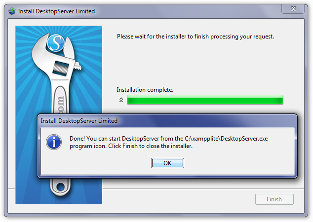 DesktopServer Close Installer Screen