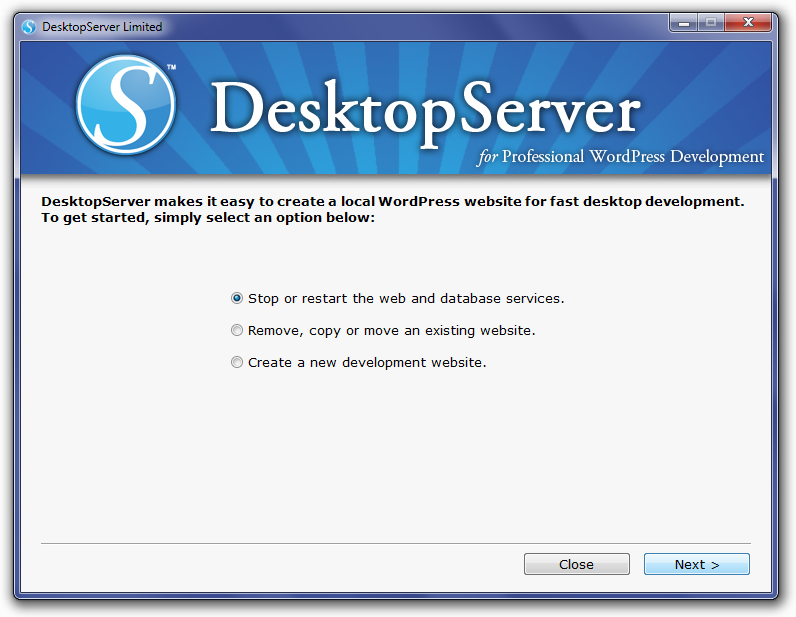 DesktopServer Stop Services Screen