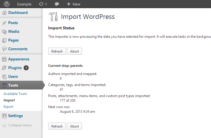 An import of a WordPress WXR file in progress