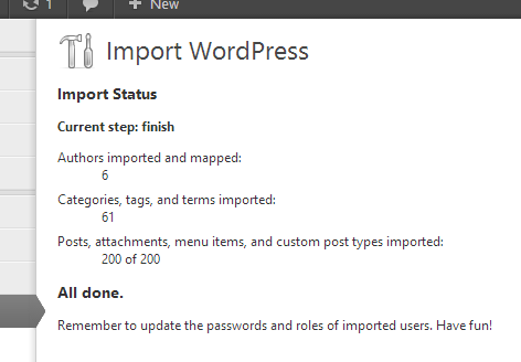 A completed WordPress import
