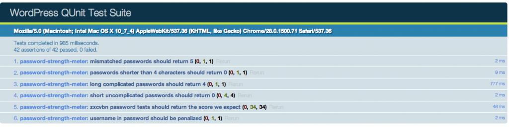 Screen Shot of WordPress QUnit tests