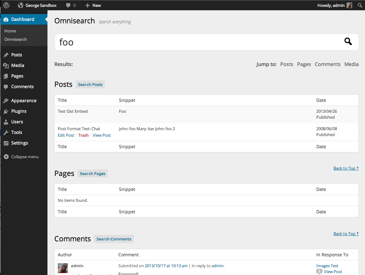 Omnisearch Results Page