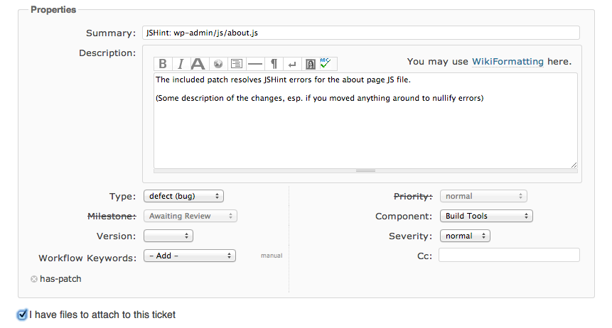JSHint-related trac ticket settings