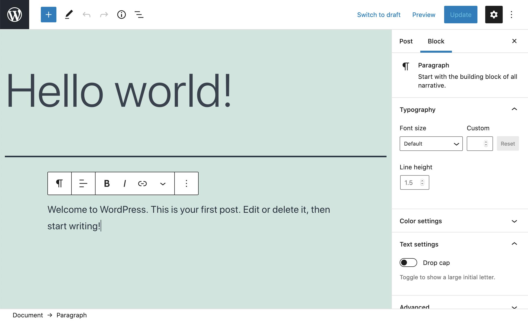 Screenshot of the block editor in WordPress 5.6.