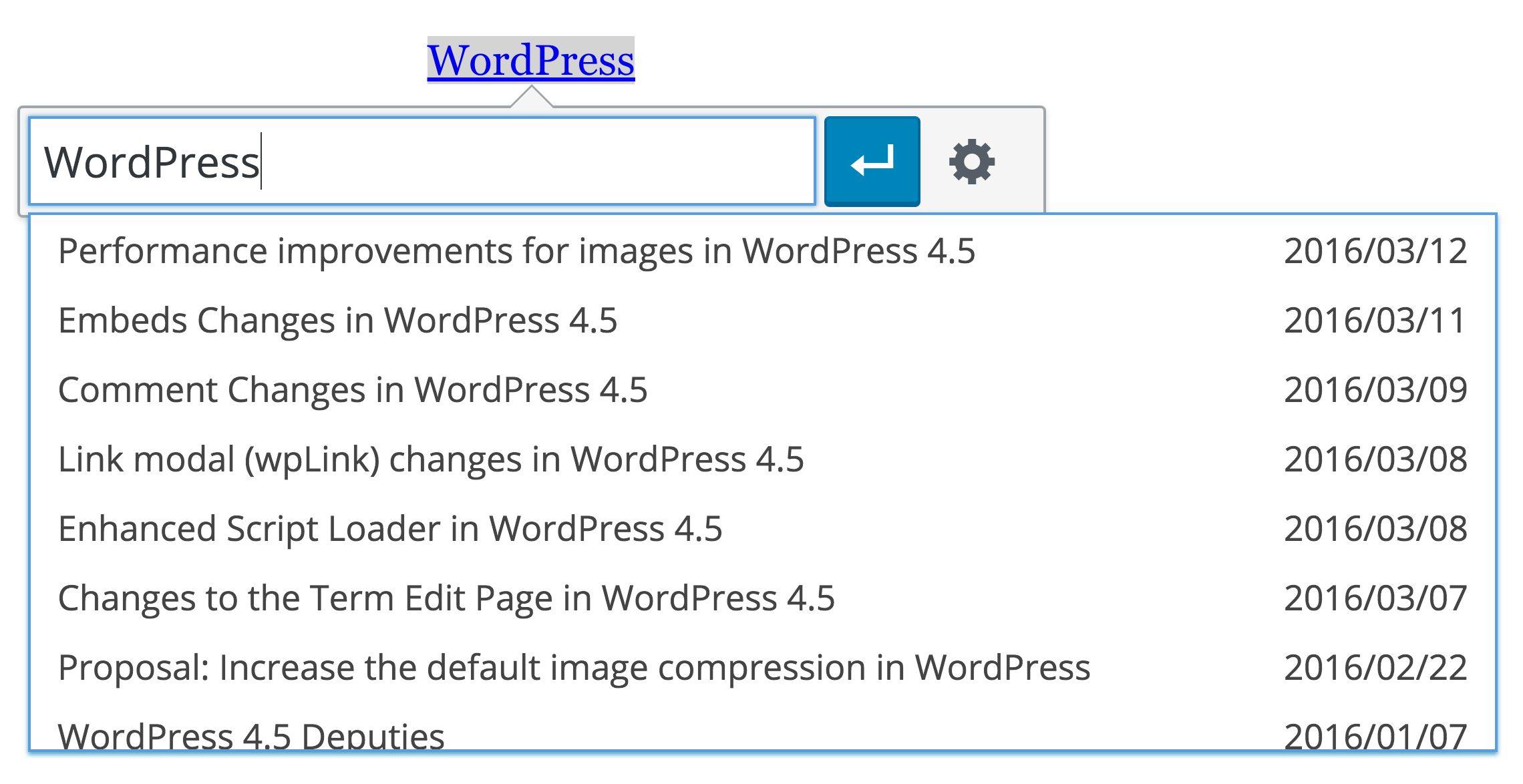 Inline link editing in the WordPress visual editor