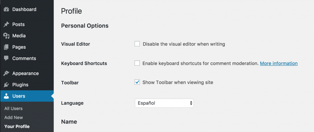 The new user language option when editing the profile