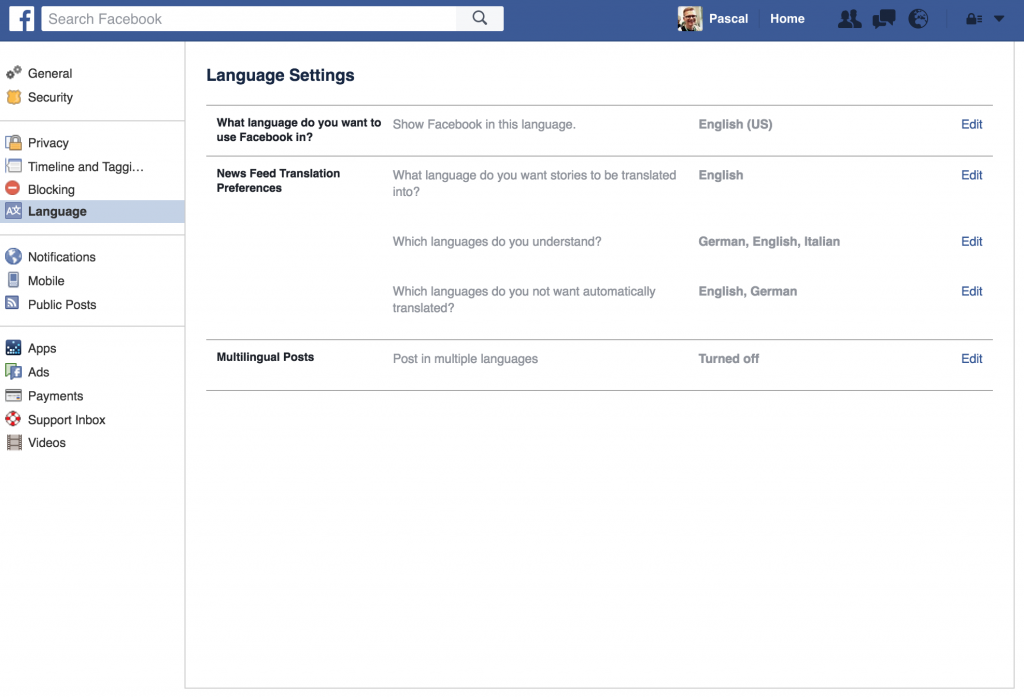 Facebook User Language Setting