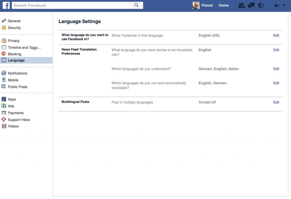 Facebook User Language Setting