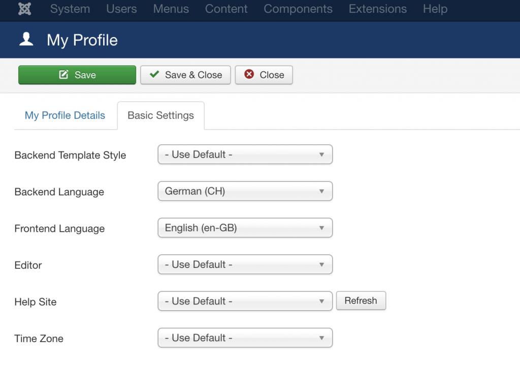 Joomla User Settings
