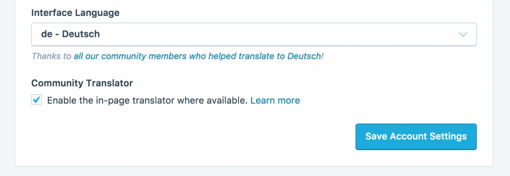 WordPress.com User Interface Language