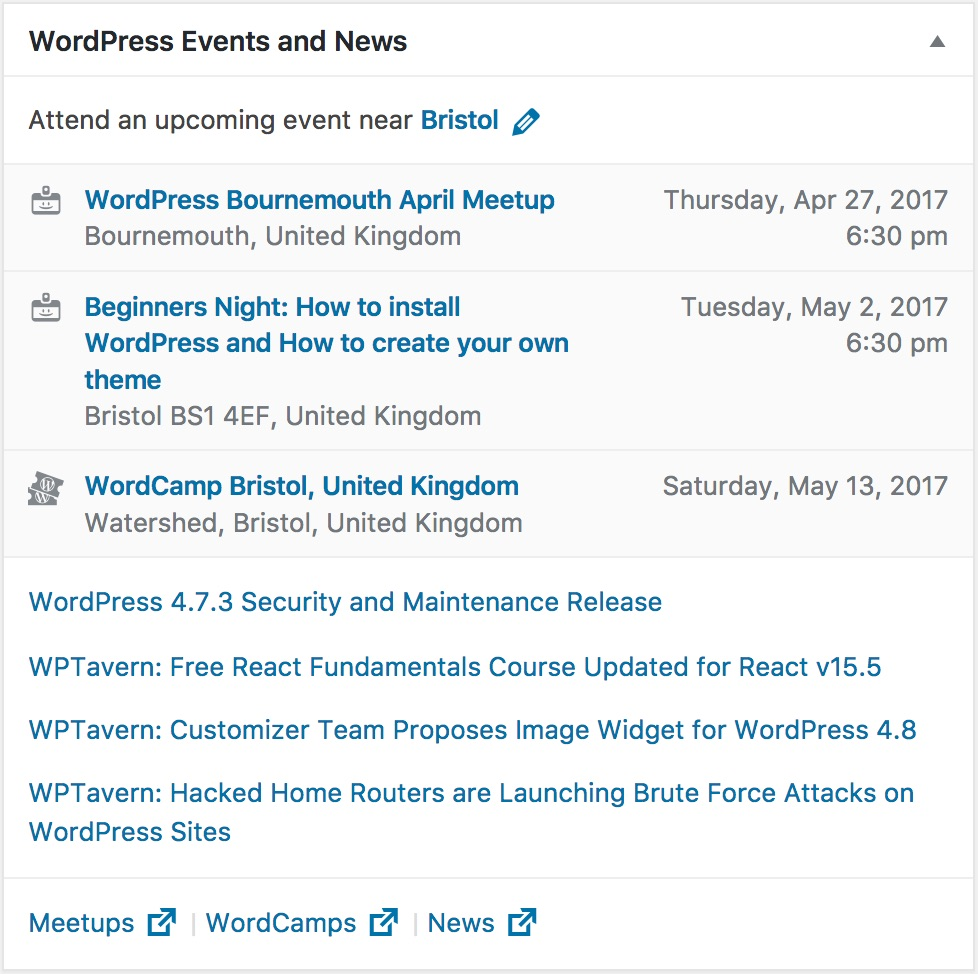 WordPress Events and News widget