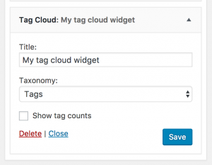 the tag cloud widget admin interface