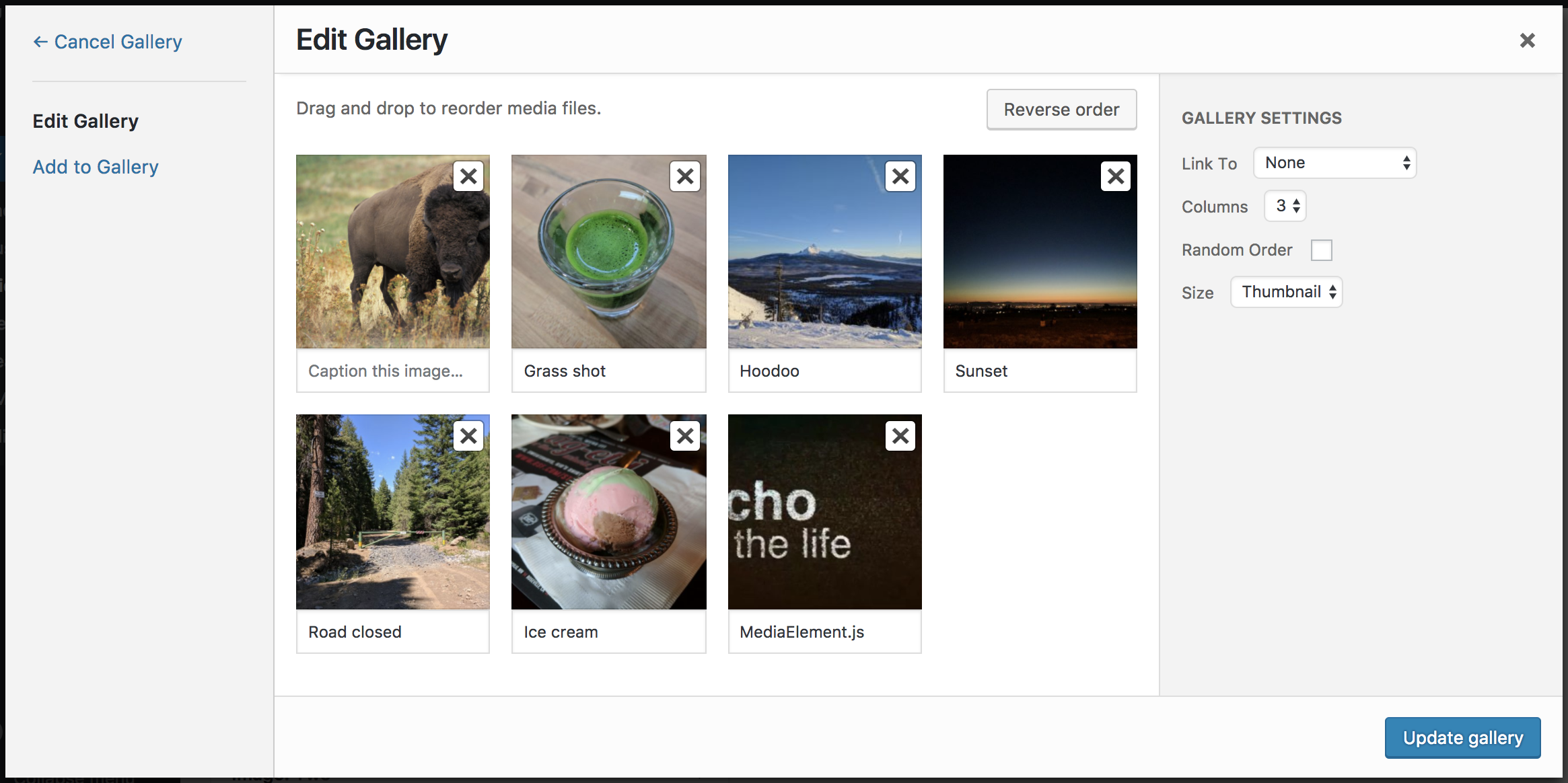 modifying order of images and gallery properties