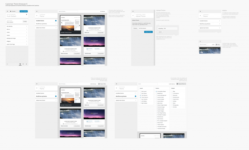 Mockups of the user flow through the customize themes experience in 4.9, with additional elements for future releases