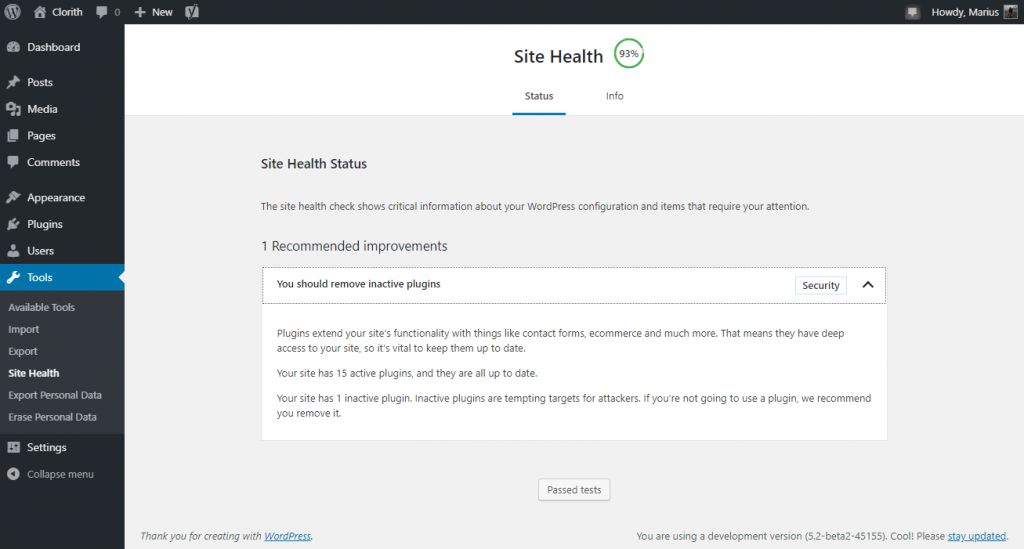 Screenshot of the WordPress Site Health Status page
