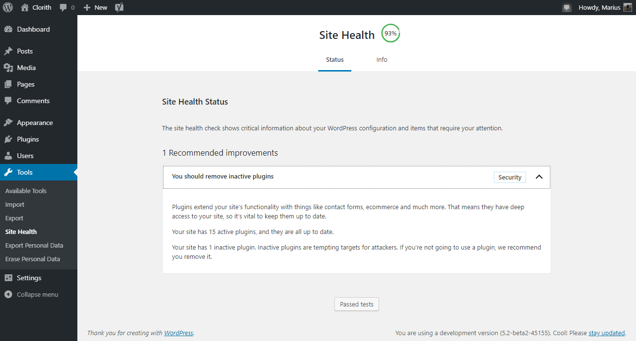 Site Health Check in 5.2
