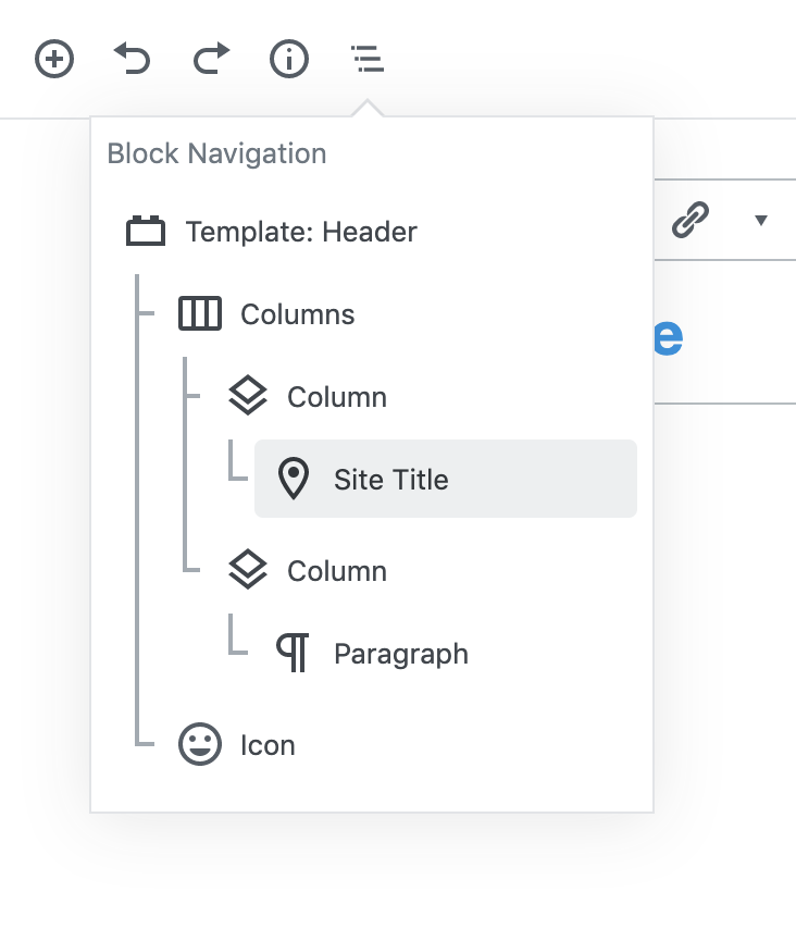 The block navigator can identify different template parts and their contents.