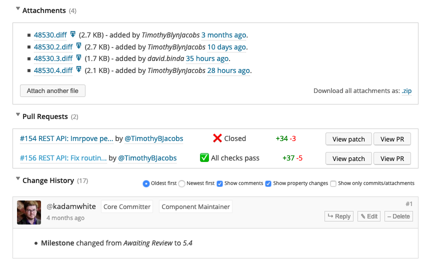A screenshot of a WordPress Core Trac ticket with the new linked Pull Requests between the ticket attachments and comments.