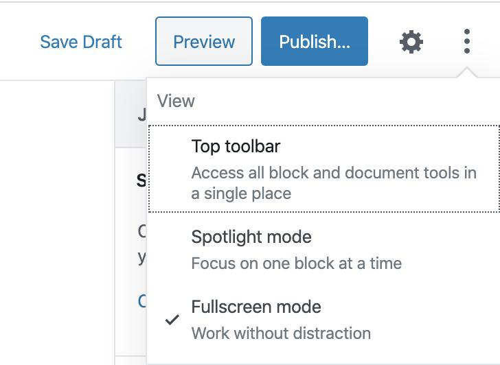 Screenshot vom Editor, wie man wieder auf die Toolbar zugreifen kann und den Vollbildmodus beenden kann.