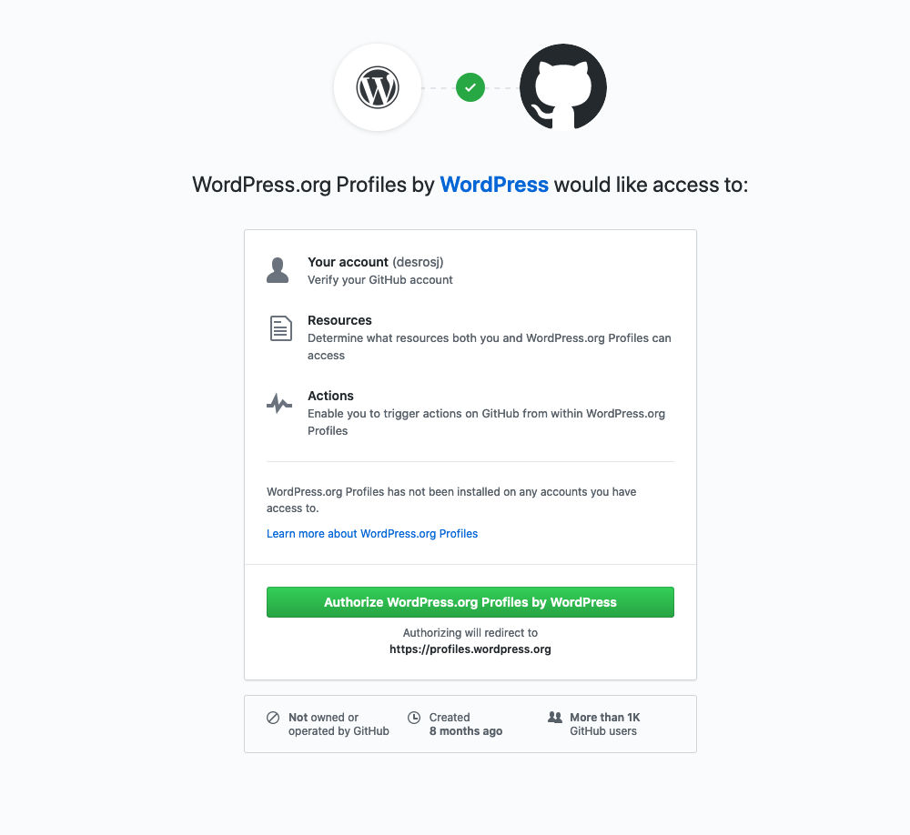 The authorization screen on GitHub for the WordPress.org Profiles application.