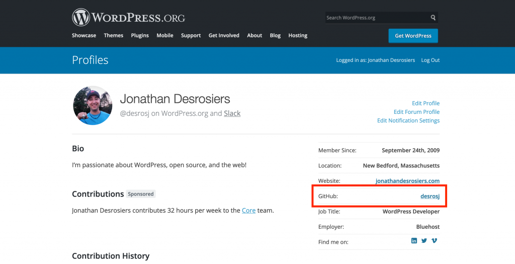 WordPress.org profile with GitHub profile link highlighted.