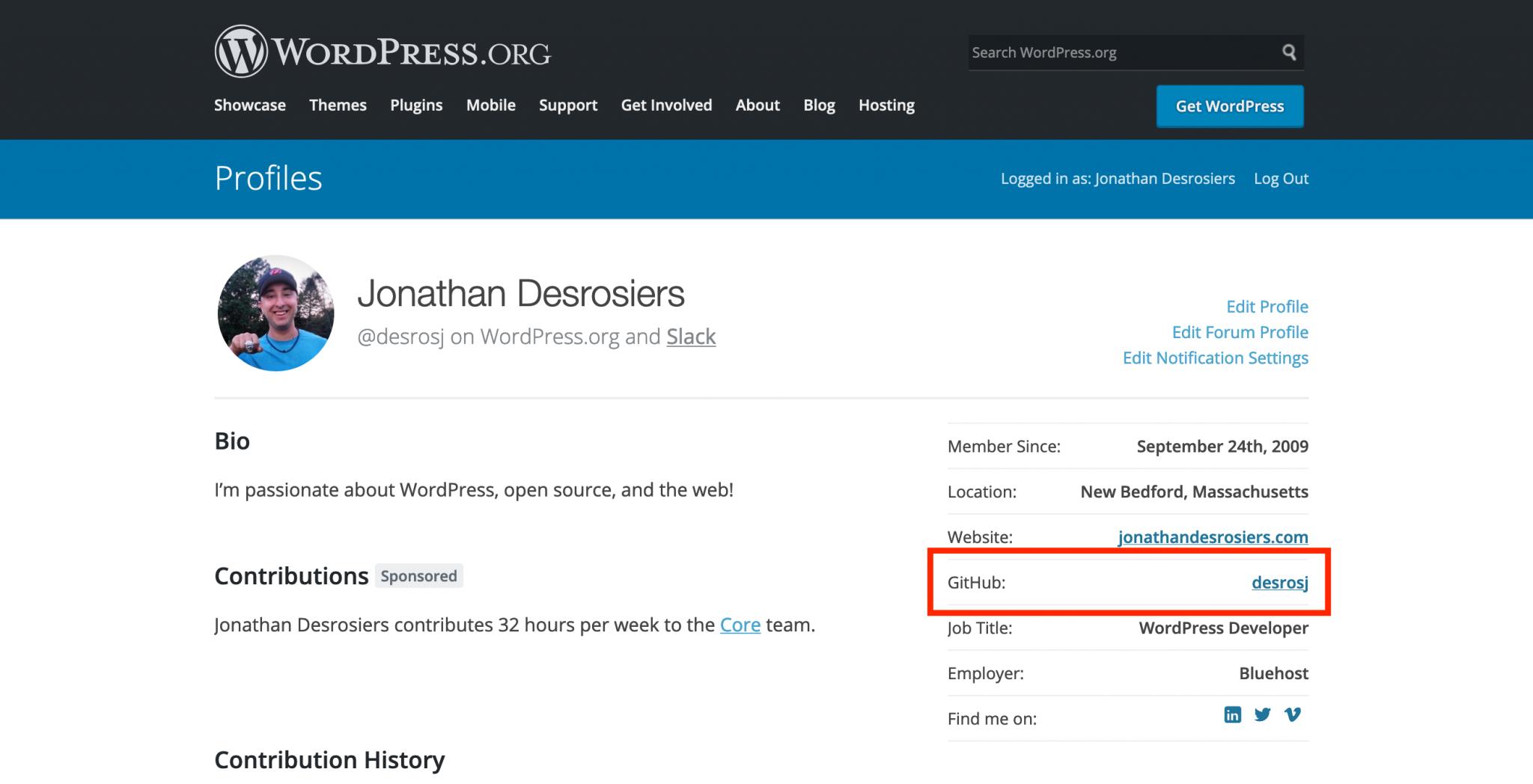 Associating GitHub accounts with WordPress.org profiles